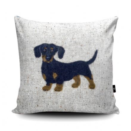 Dachshund Dog Print vegan faux suede cushion with a Fibre Inner by Sharon Salt